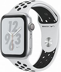 Hodinky Apple Apple Watch + Series 4 GPS, 44mm Silver Aluminium Case with Pure Platinum/Black Sport Band mu6k2hc-a