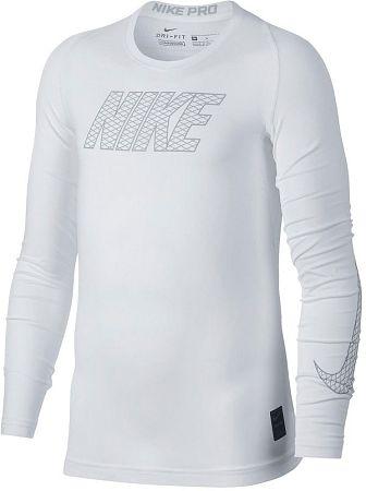 Tričko s dlhým rukávom Nike B NP TOP LS COMP 858232-100 Veľkosť XS