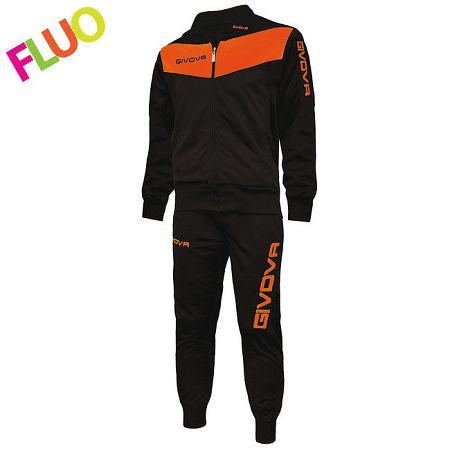 TUTA VISA FLUO čierna-svietivá oranžová - XXS (136–145)